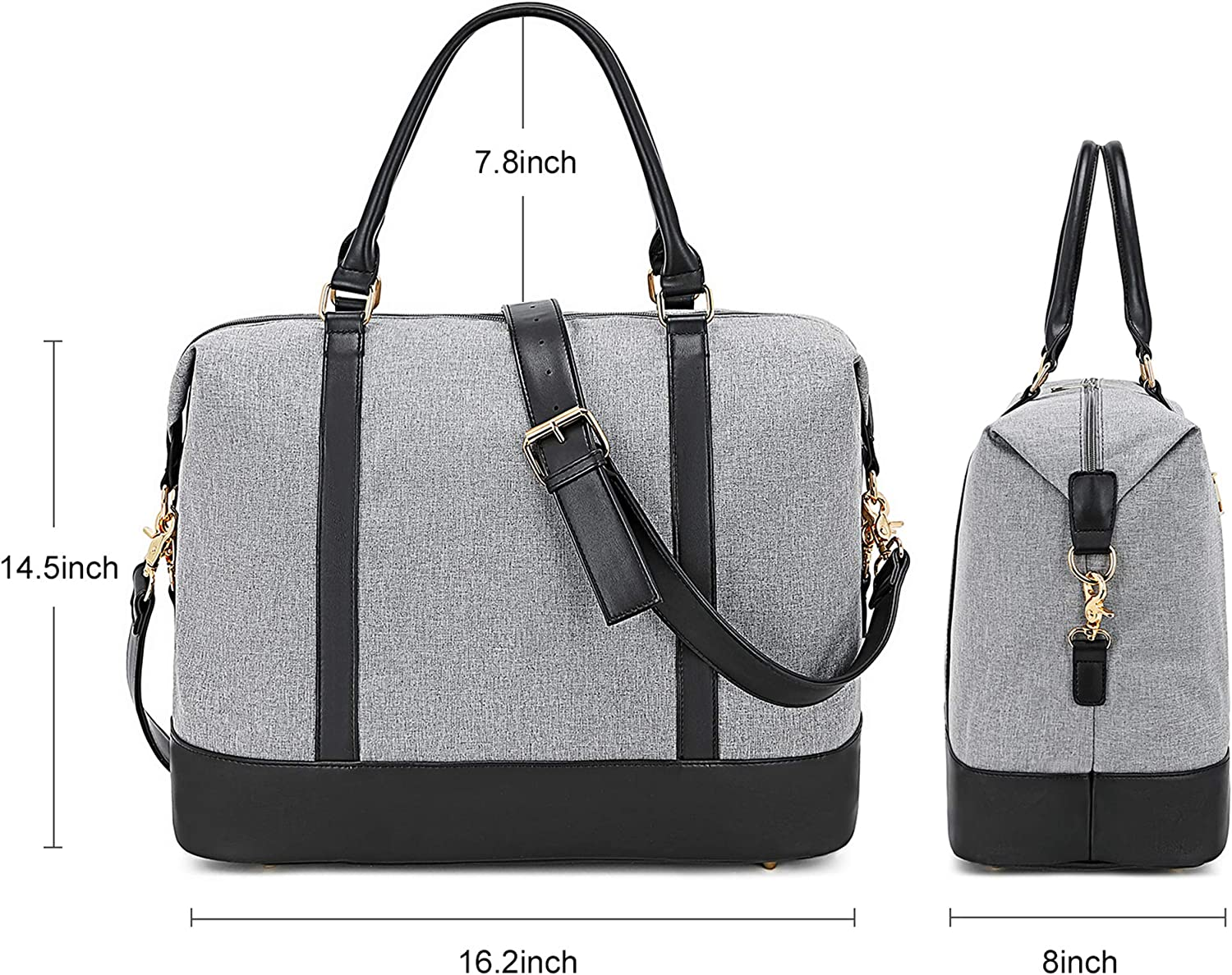 Weekender bag Laptop Tote Teacher 15.6Inch Large Work Travel Bags Purse Carry-on Overnight Duffel in Trolley Handle E2022 Black