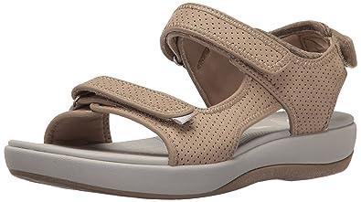 7c5b8dd02c17 CLARKS Women s Brizo Sammie Flat Sandal Sand Perforated Microfiber 5.5 B(M)  US