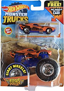 Hot Wheels Monster Trucks 1:64 Scale Rodger Dodger, Includes Hot Wheels Die Cast Car