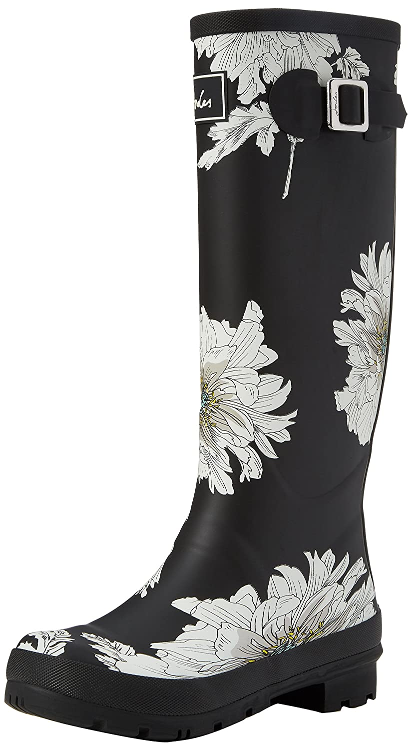 Joules Women's Welly Print Rain Boot B06W2JG22L 9 B(M) US|Black Peony