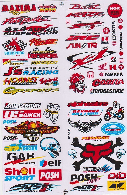 Autocollant Sticker Sponsors R/églage Tuning Rally Voiture mod/èle Moto 1 Page 27 x 18 cm pour lext/érieur Variante 5