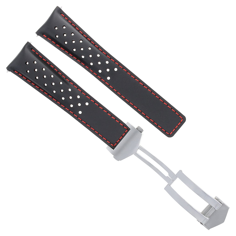 レザーバンドStrap Clasp 22 mm for Tag Heuer CarreraブラックレッドStit 4tc Perforat  B07D6P54RM