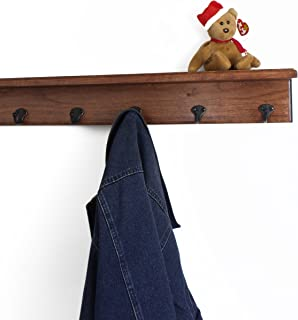 "product image for Solid Cherry Shelf Coat Rack with Aged Bronze Single Style Hooks (Mahogany, 26"" with 5 hooks)"