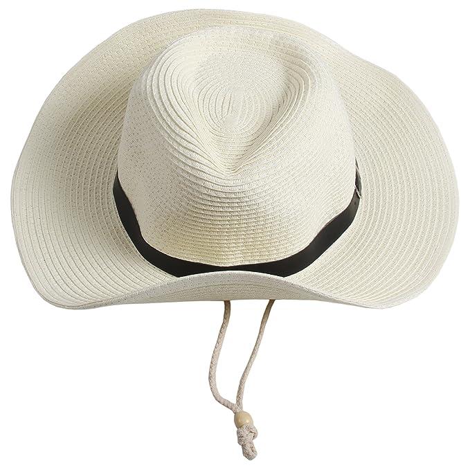 Sidiou Group Uomo Cappelli da cowboy Donne Cappa da spiaggia Unisex Fedora  Trilby Cappello Hat Hat Gambler con cinturino (Bianco)  Amazon.it   Abbigliamento 50d11bf2b50f