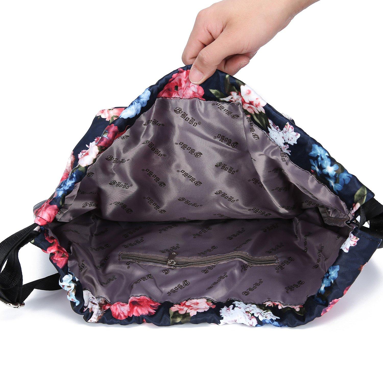 MORHUA Backpack Drawstring Bag Gymbag Drawstring Backpack Sports Travel Yoga Gymsack (Dark Orchid Pocket) by MORHUA (Image #3)