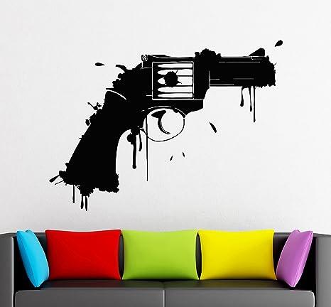 Amazon Com Wall Stickers Vinyl Decal Gun Firearm Weapons Grunge Room Decor Ig1789 Home Kitchen