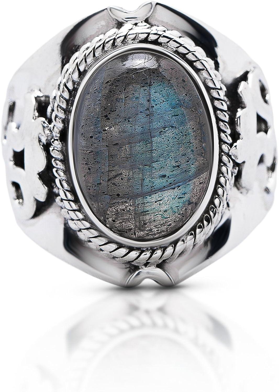Handmade Oval Shape Turquoise Gemstone Silver Plated Retro Ring Size US-6
