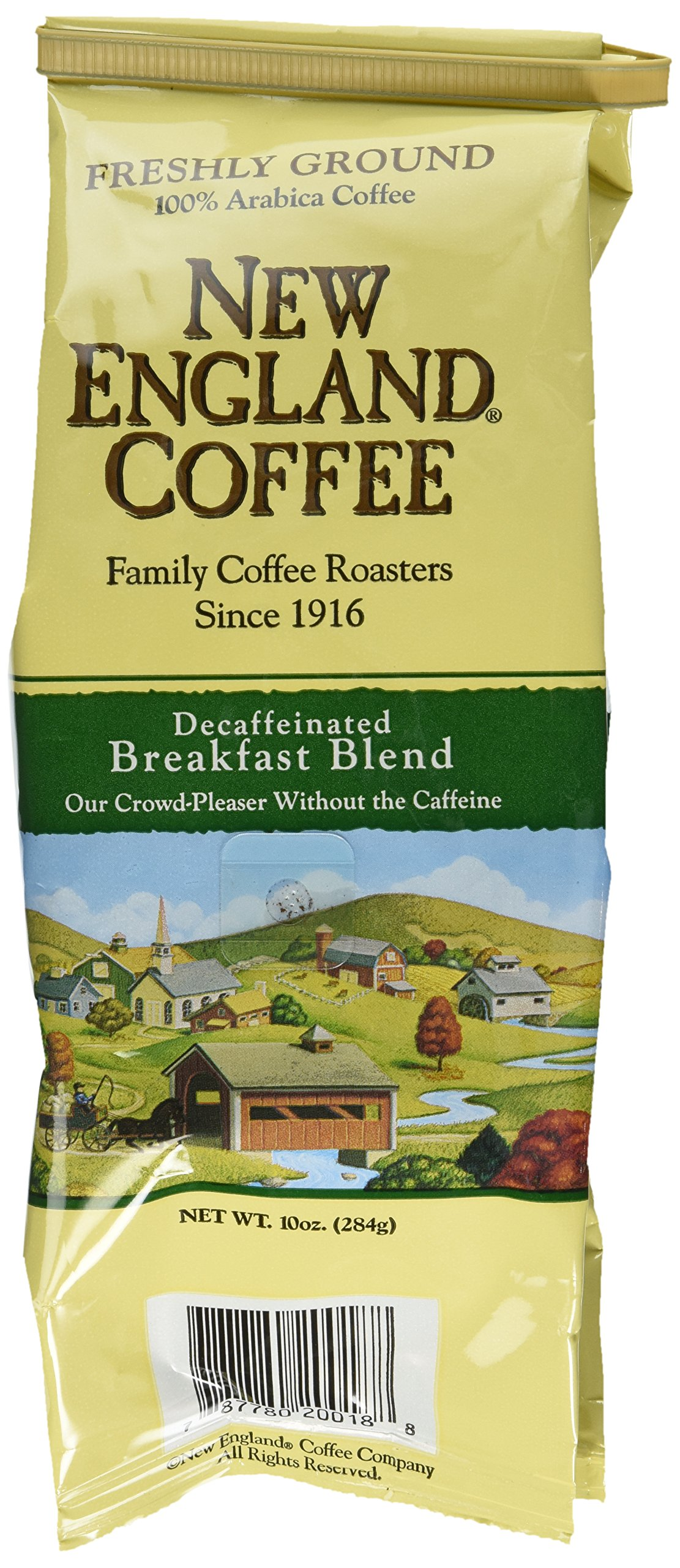 New England Coffee Breakfast Blend Decaf, Ground, 10-ounce Bags (Pack of 3)