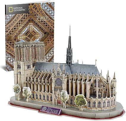 CubicFun National Geographic Puzzle 3D Notre Dame de Paris Gótica Kit Modelo de Edificio, 128 Piezas: Amazon.es: Juguetes y juegos