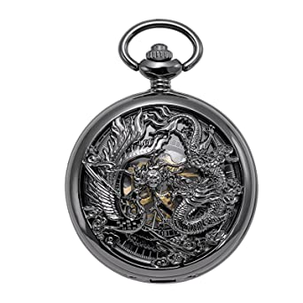 1105b79ec TREEWETO Mechanical Skeleton Pocket Watch Lucky Phoenix & Dragon Hollow  Case with Chain + Gift Box