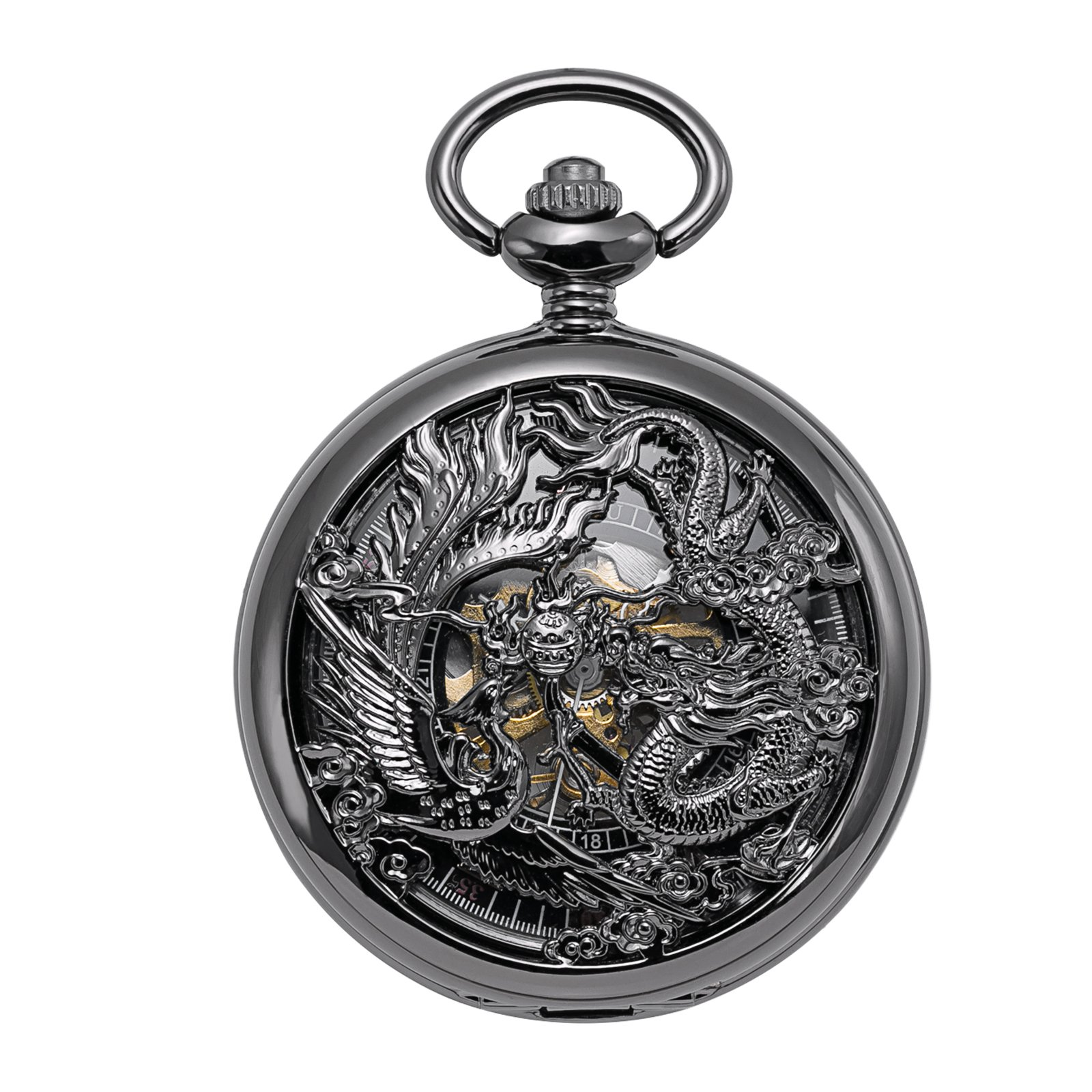 TREEWETO Mechanical Skeleton Pocket Watch Lucky Phoenix & Dragon Hollow Case with Chain + Gift Box by TREEWETO