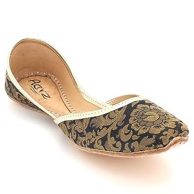 Frau Damen Diamant Traditionell Ethnisch Braut Handarbeit Leder Khussa Jutti Mojari Indian Pumps Slip on Gold Schuhe Größe 37 AARZ LONDON tTipAY3CC