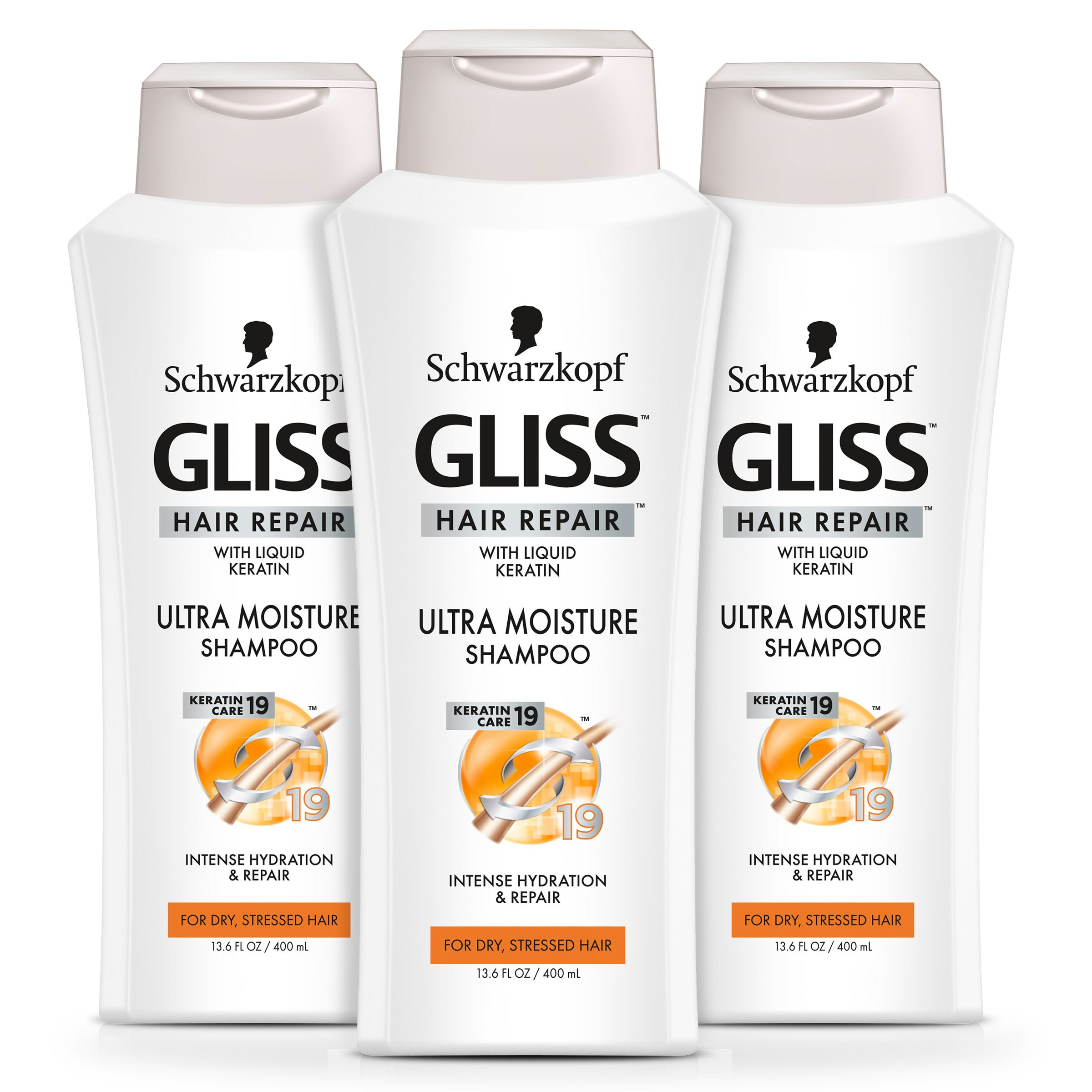 GLISS Hair Repair Shampoo, Ultra Moisture for Dry or Stressed Hair, 13.6 Ounces (Pack of 3)