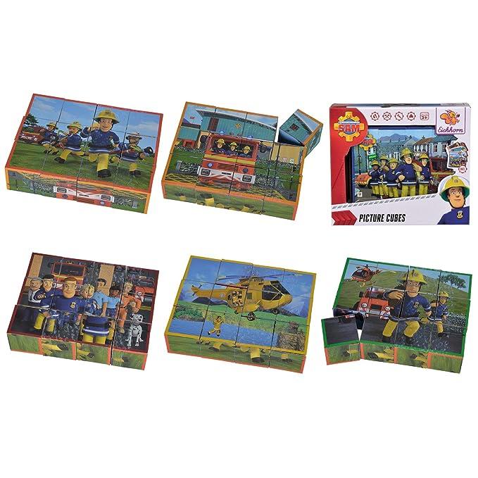 Unbekannt Bilderw/ürfel aus hochwertigem Holz 6 verschiedene Feuerwehrmann Sam Motive /• Feuerwehr Puzzle Bilder W/ürfel Bausteine Kinder Spielzeug