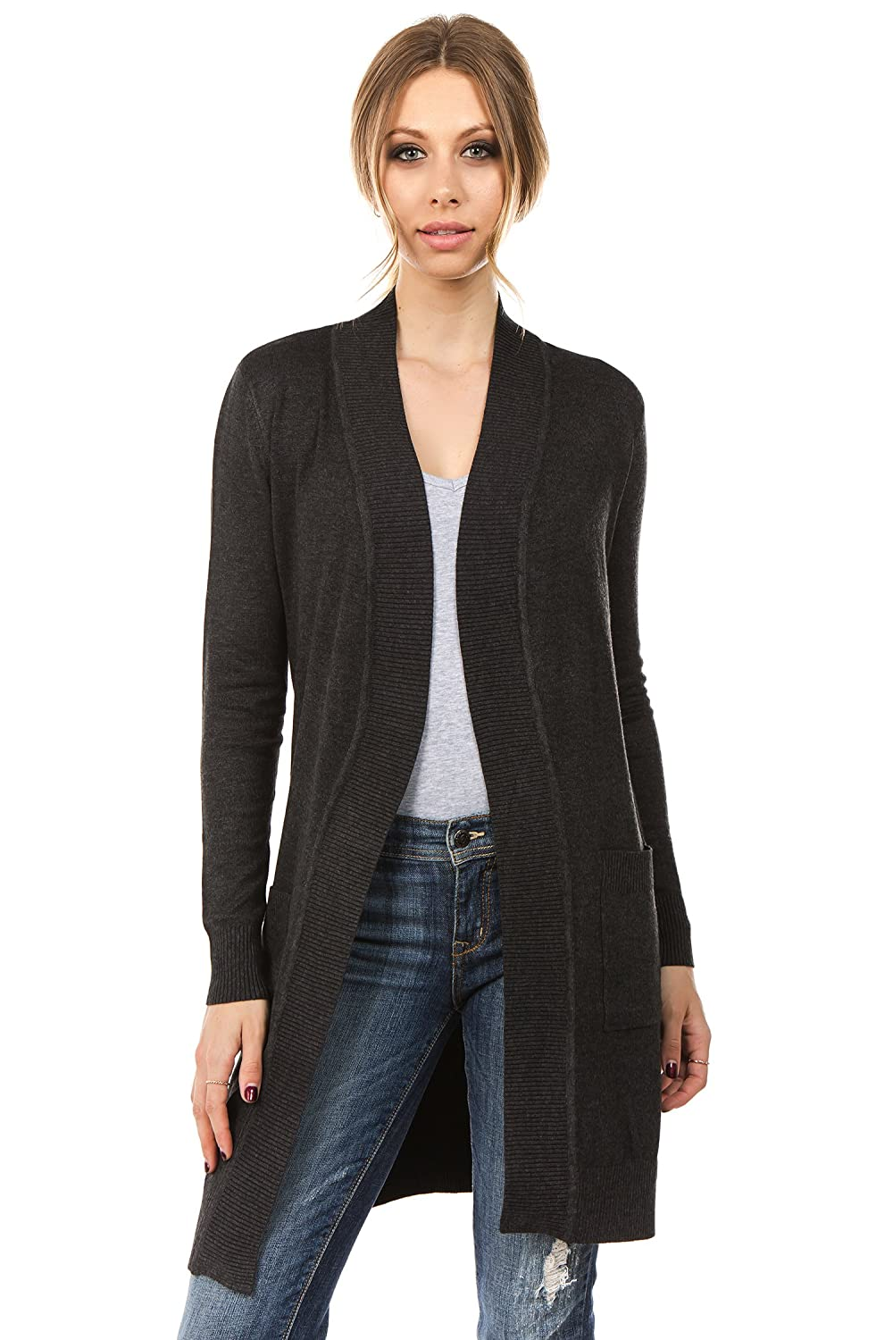 Charcoal CIELO Women's Long Sleeve Sweater Duster Cardigan
