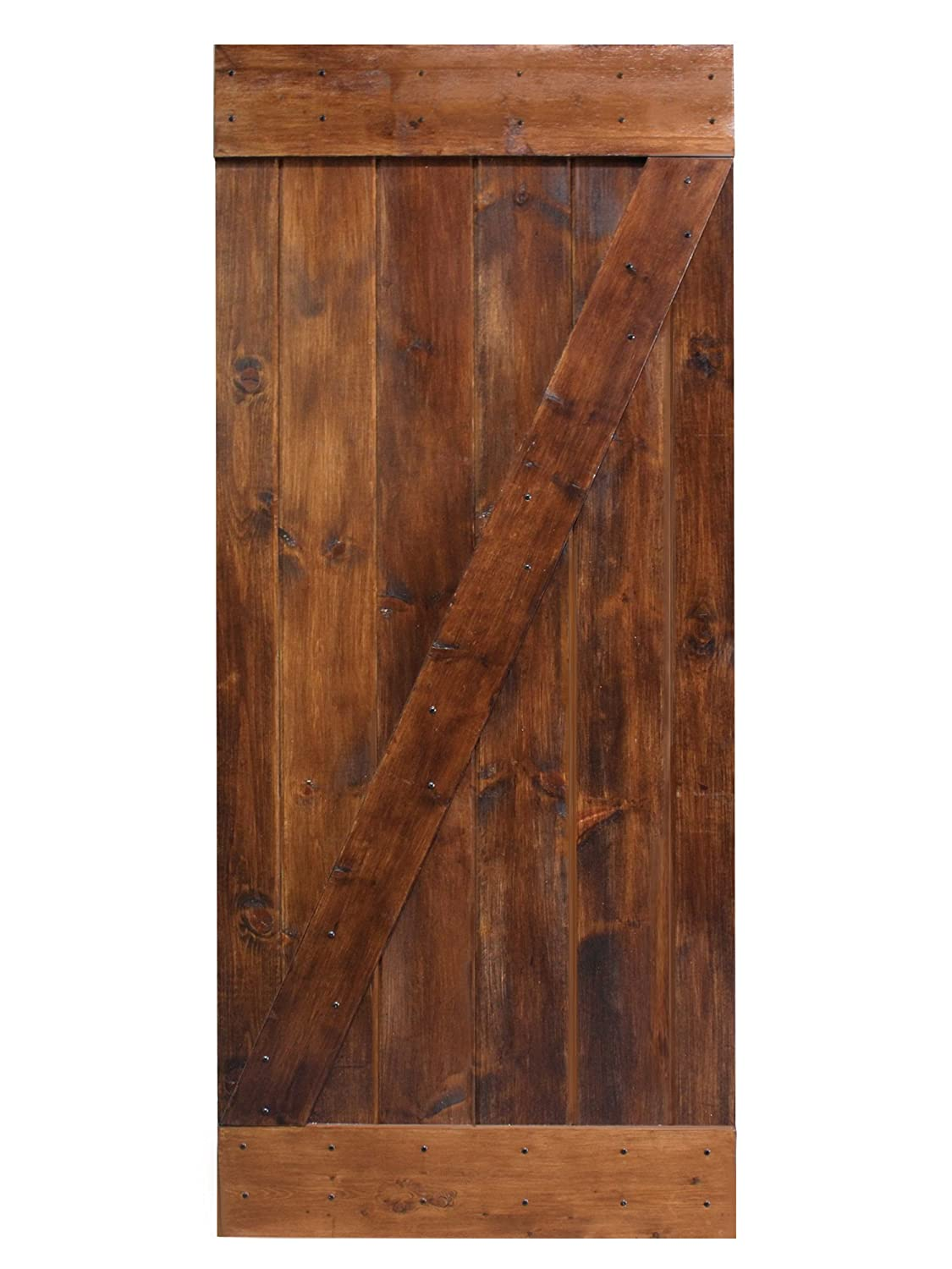 "TMS 36""x84"" Dark Coffee Solid Core Plank Knotty Pine Barn Wood Sliding Interior Door"
