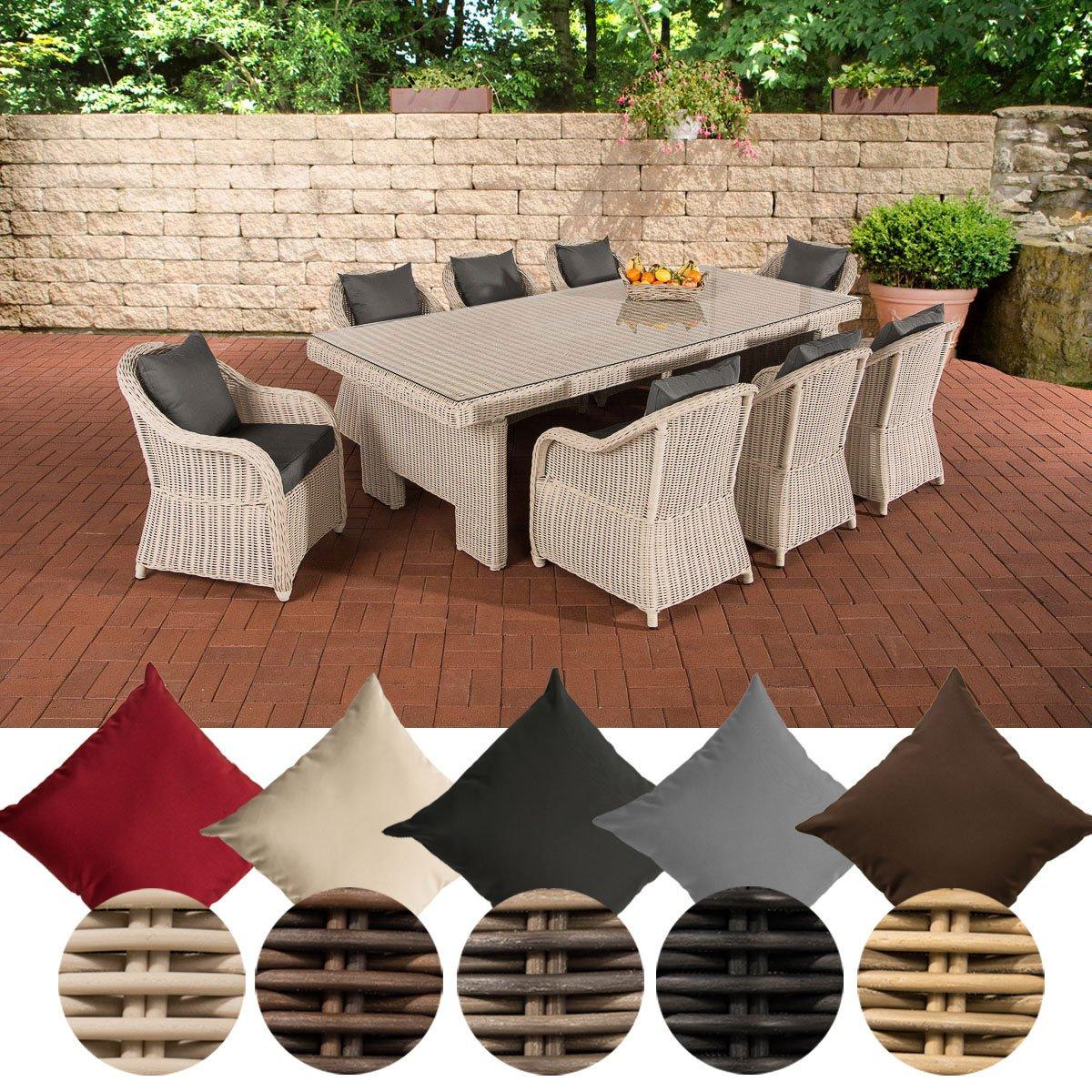 CLP Poly-Rattan Garten Sitzgruppe CANDELA XL, 8 Stühle + Esstisch ca ...