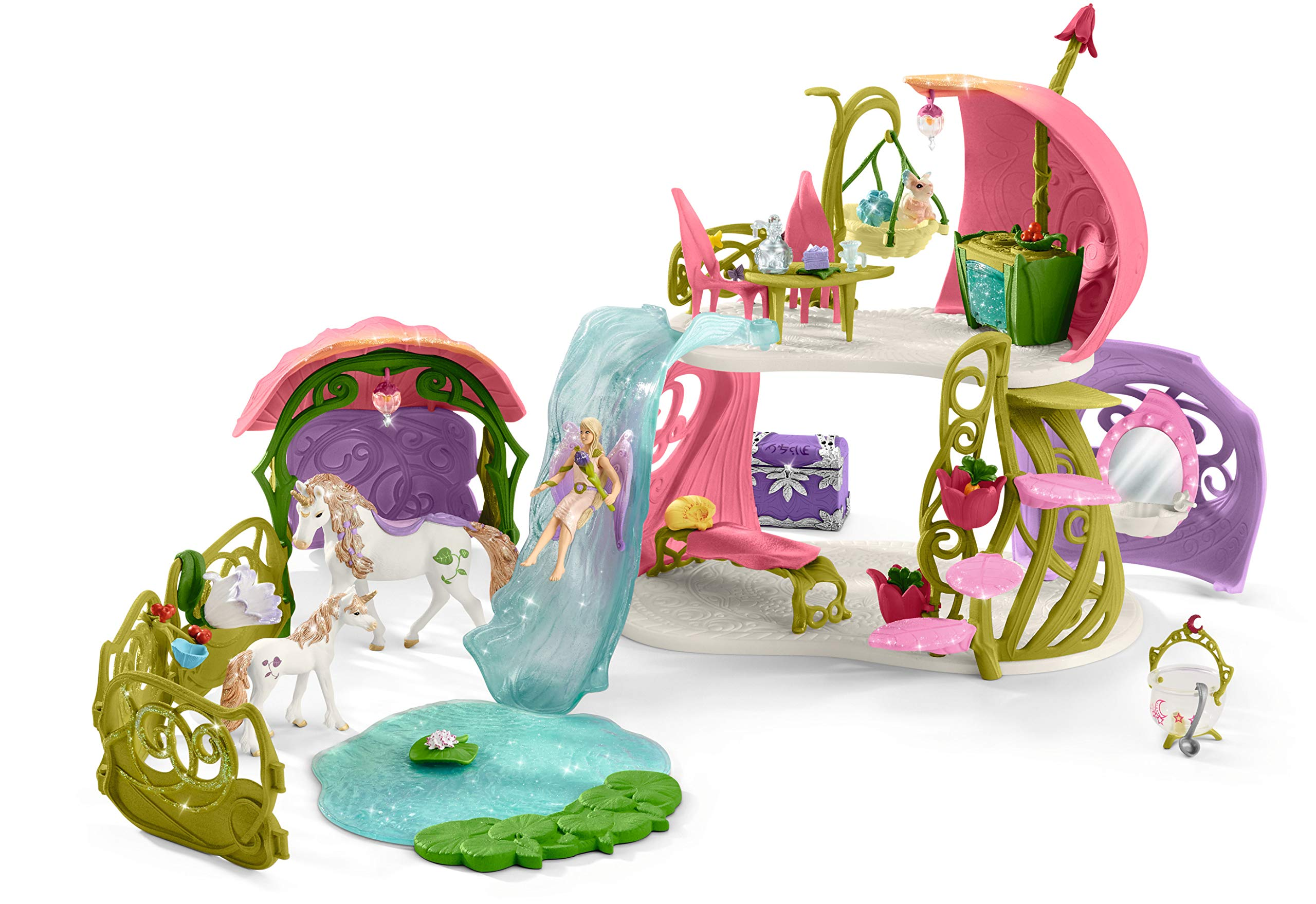Schleich Glittering Flower House with Unicorns, Lake and Stable, Multicolor