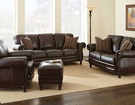 Amazon Com Steve Silver Company Chateau Leather Sofa In Antique