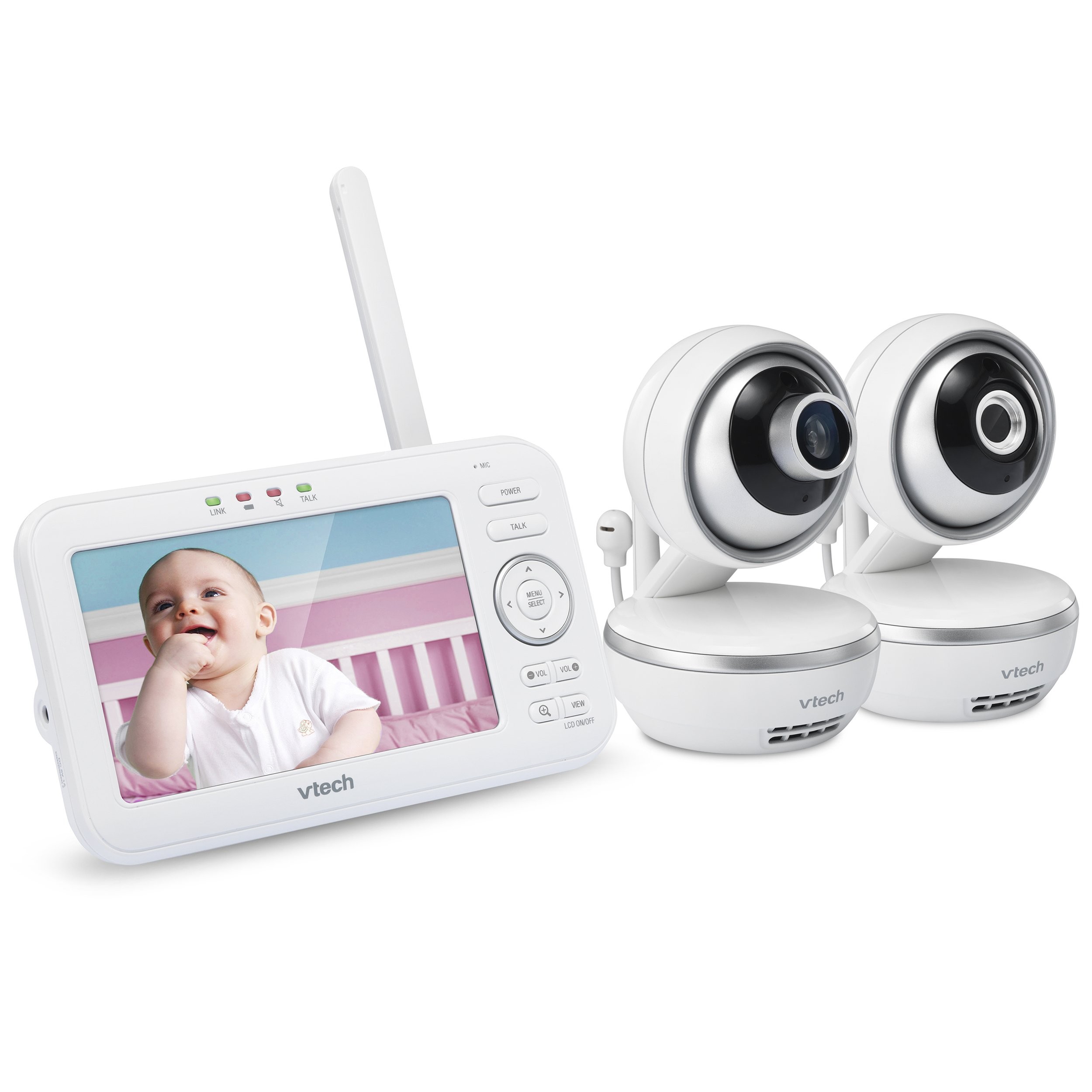 "VTech VM5261-2 5"" Digital Video Baby Monitor with 2 Pan & Tilt Cameras, Wide-Angle Lens and Standard Lens, White"
