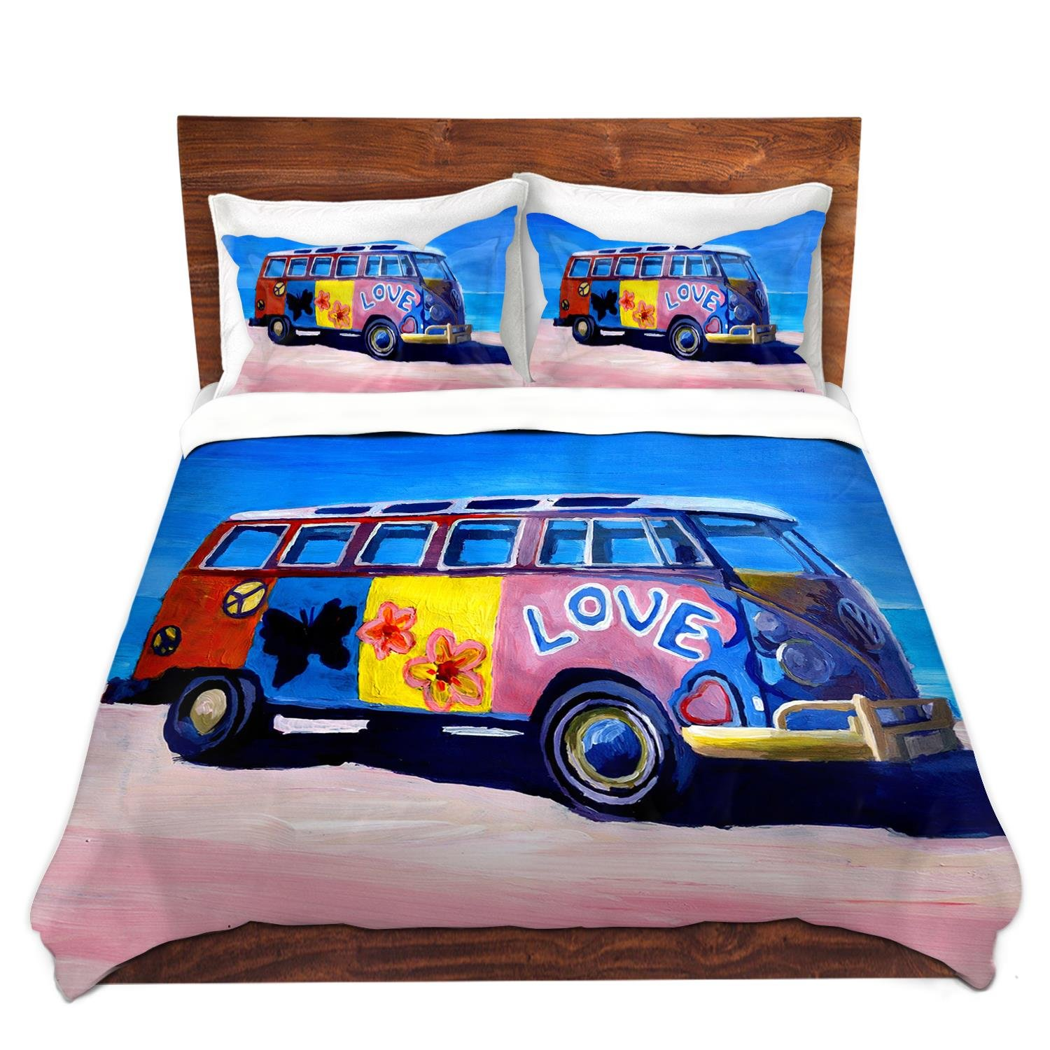 DiaNoche Designs the Love VW Bus Unique Bedding Ideas Cover Brushed Twill Twin, Queen, 8 King Duvet Sham Set