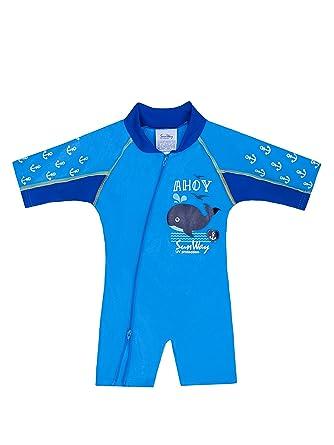 2064c94b7f Amazon.com: SunWay Baby Boy Swimwear Swimsuit Sun Suit Sun Protection UV  UPF50+ (02 (6-18 Months), Blue Whale): Clothing