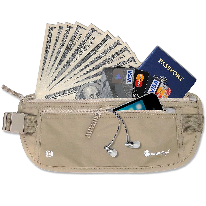 Gearbay6 RFID Blocking Money Belt Beige - Money Belt RFID Blocking Sleeves Security Passport Holder Hidden Waist Pouch Travel Pack for Men and Women Ponderbay