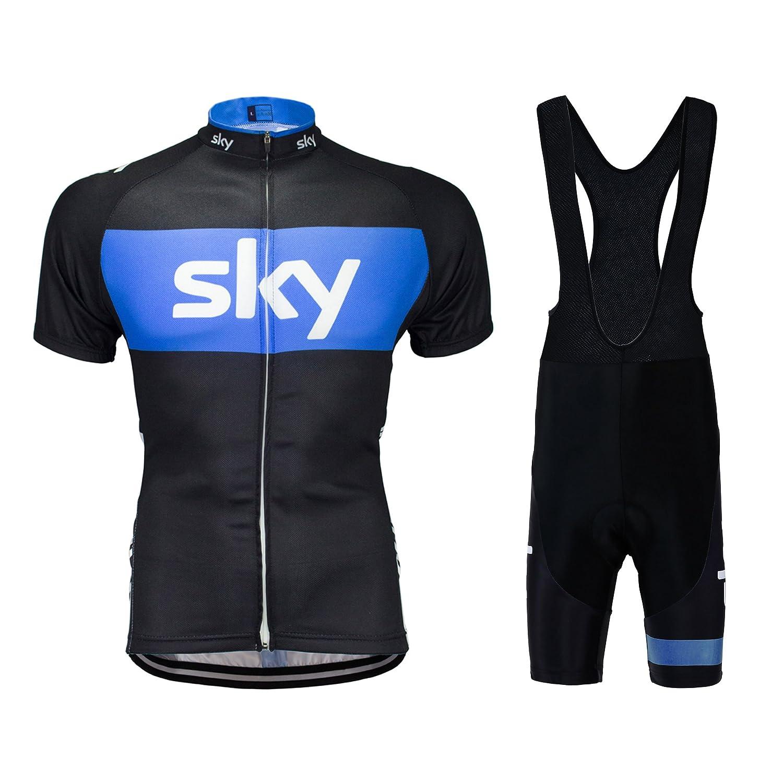 Yianerm メンズ サイクリング ジャージ 通気性のある 完全ファスナー 快適 サイクリング用トップス 3Dパッド 胸当てタイト(ショート)セット アウトドア ライディング用 B06W2LP8HS 3L|Blue&black Bib Set Blue&black Bib Set 3L