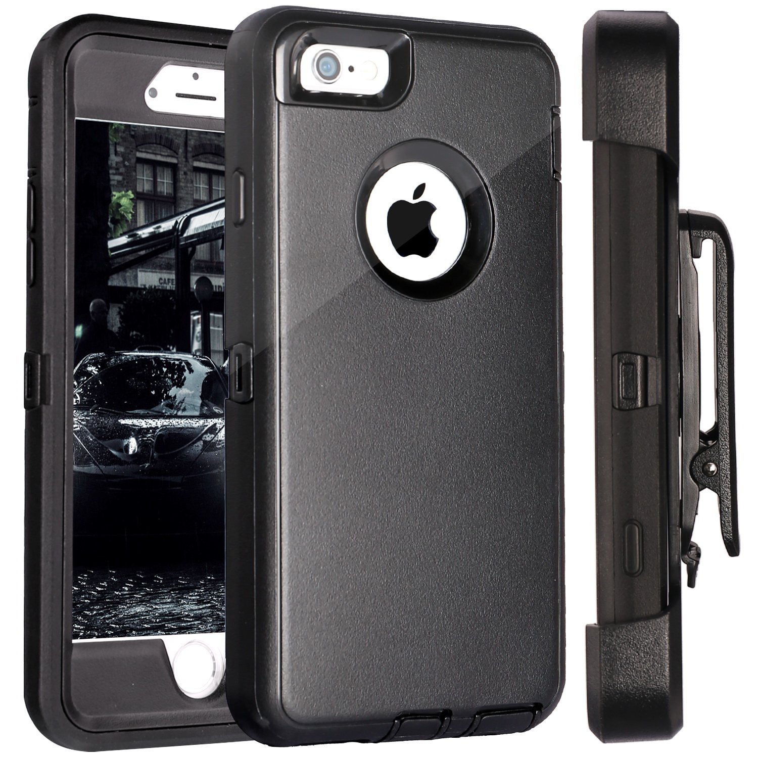 FOGEEK iPhone 6S Plus Case, Protective Case Heavy Duty Cover Compatible for iPhone 6 Plus & iPhone 6S Plus 5.5 inch 360 Degree Rotary Belt Clip & Kickstand (Black) by FOGEEK