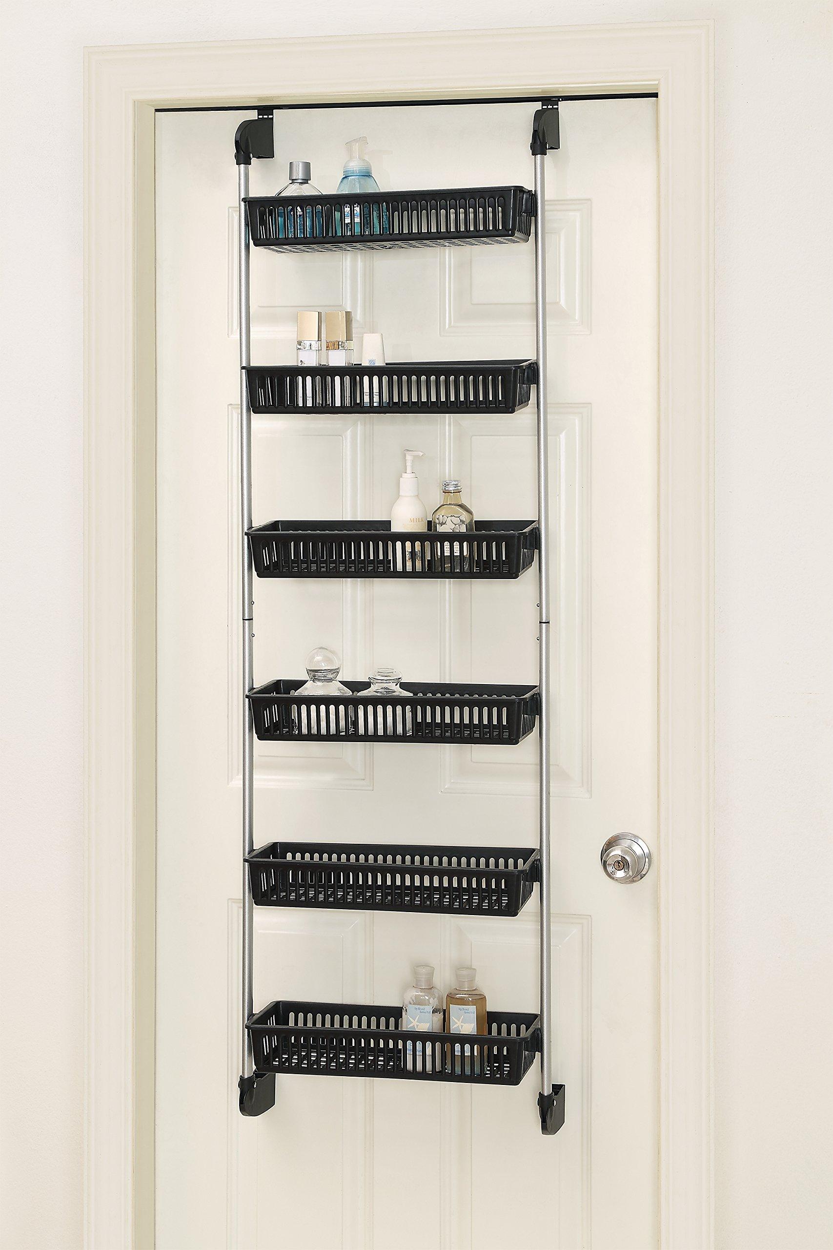 Over The Door 3 Tier Bathroom Towel Bar Rack Chrome W: Over The Door Basket Shelf Closet Pantry Storage Kitchen