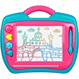 Peradix Doodle Magnetic Drawing Board Sketch Scribble Tablet Education Writing Drawing Painting Colorful Erasable Toy for Toddler Kids (Blue&Pink)
