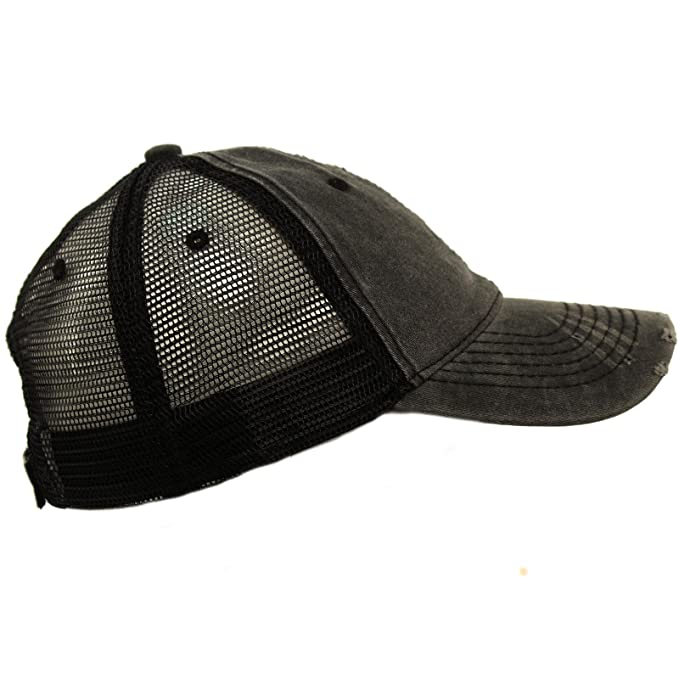 9e138207 Unisex Distressed Low Profile Trucker Mesh Summer Baseball Sun Cap Hat  Black at Amazon Men's Clothing store: