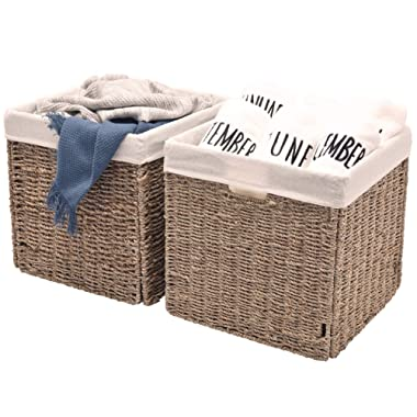 StorageWorks Seagrass Storage Woven Basket with Iron Wire Frame, Foldable Wicker Storage Baskets Organizer with Linen Lining, Large, 12.2 x12.2 x12.2 , 2-Pack