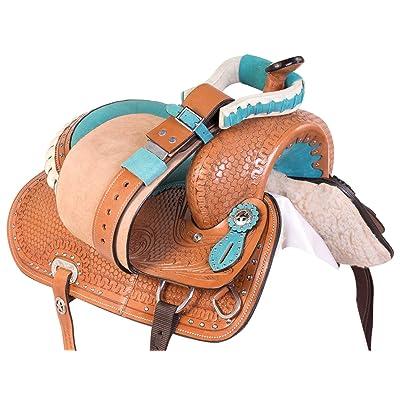 Acerugs Youth Kids Barrel Racing Saddle Size 12 13 14 Full Size Quarter Horse TACK Western Trail Premium Leather