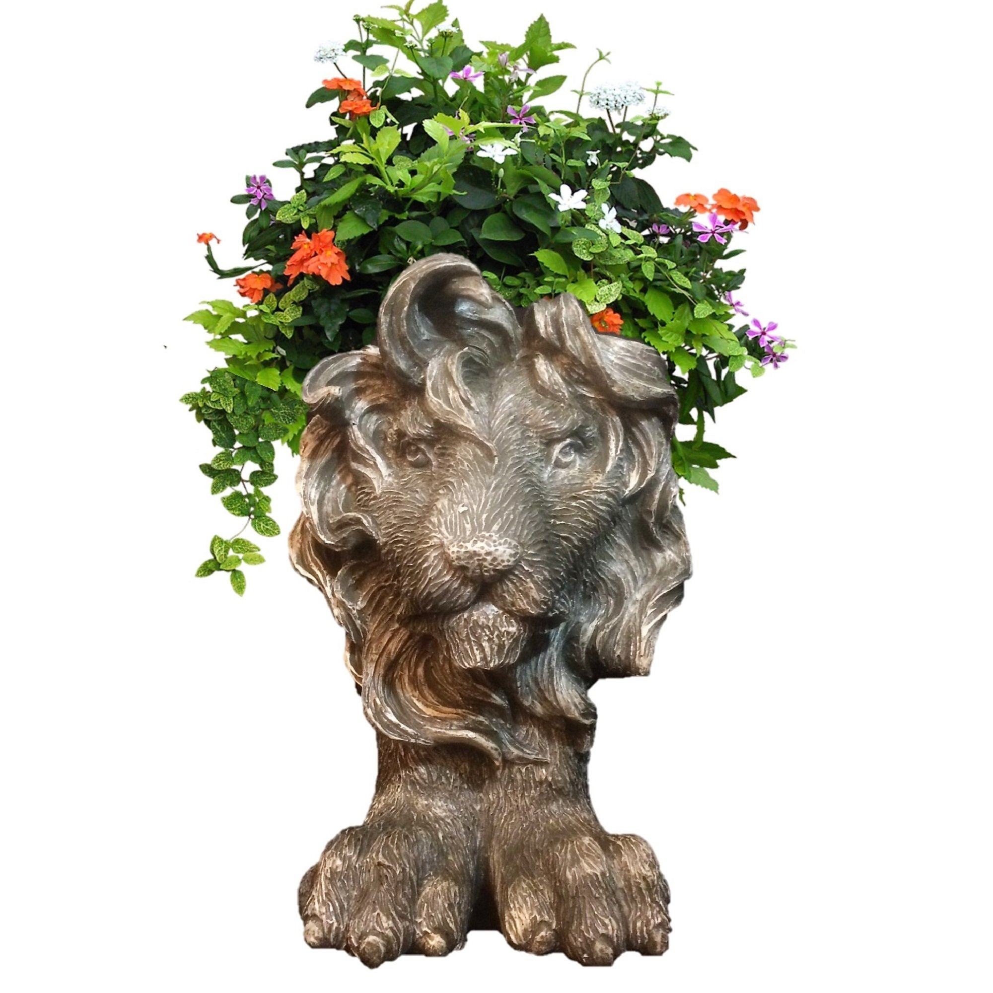 Homestyles 18 in. Graystone Lion Muggly Mascot Animal Statue Planter Holds 8 in. Pot
