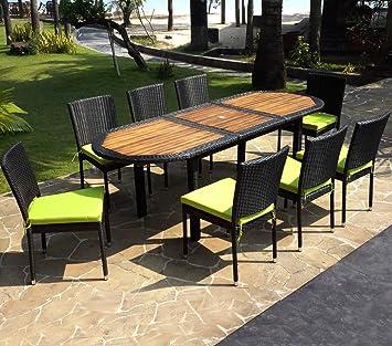 Wood-en-Stock salon de jardin ensemble table teck et résine tressée ...