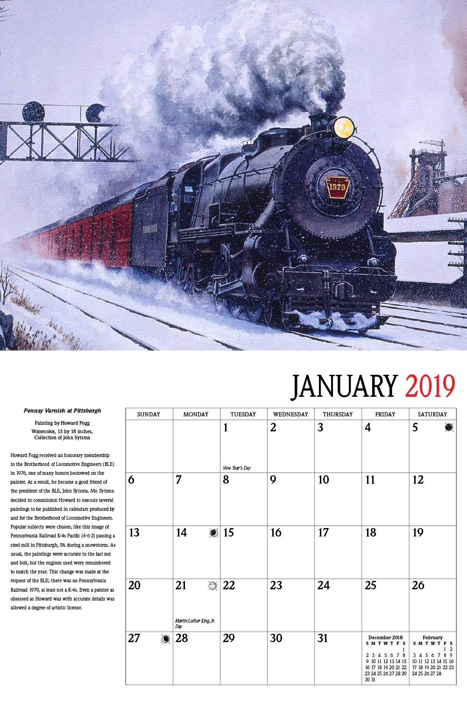Howard Foggs Trains 2019 Calendar Classic Rail Paintings
