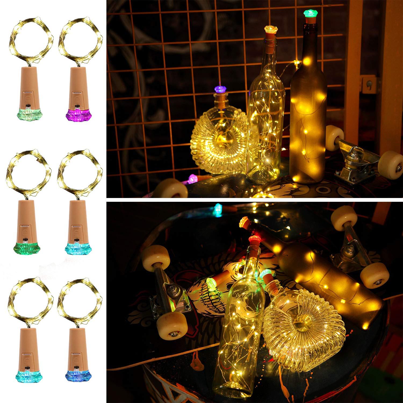 Molcoeur Wine Bottle Lights with Cork 10 Pack Fairy Battery Operated Mini Lights Diamond Shaped LED Cork Lights for Wine Bottles DIY Party Decor Halloween Wedding Festival
