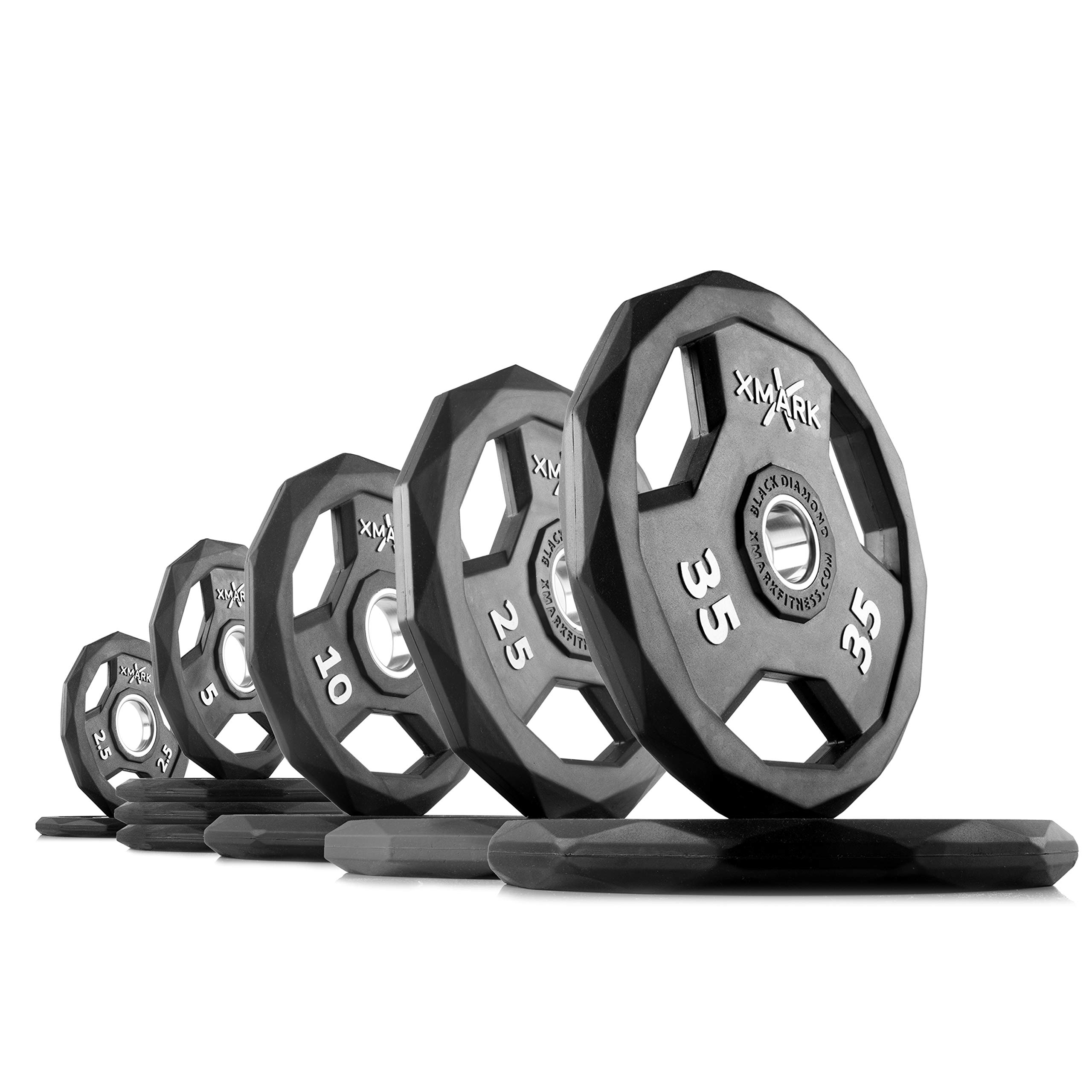 XMark Black Diamond 165 lb Set Olympic Weight Plates, One-Year Warranty, Patented Design