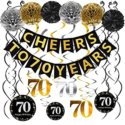 70th Birthday Party Decorations Pack - Cheers to 70 Years Banner,Poms, Sparkling Celebration 70 Hanging Swirls for 70 Years Old Party Supplies 70th Anniversary Decorations: Toys & Games