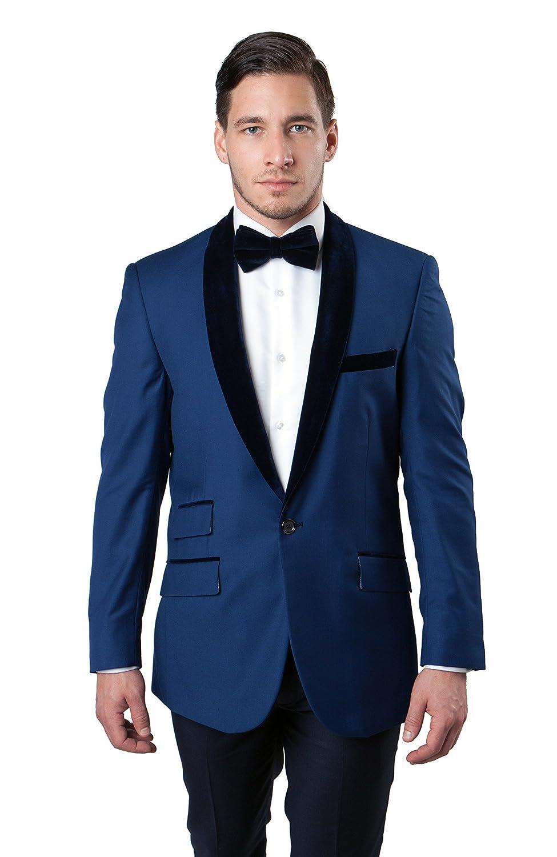 Mens Jacket Slim Fit Satin Shawl Collar Sports Coat Blazers