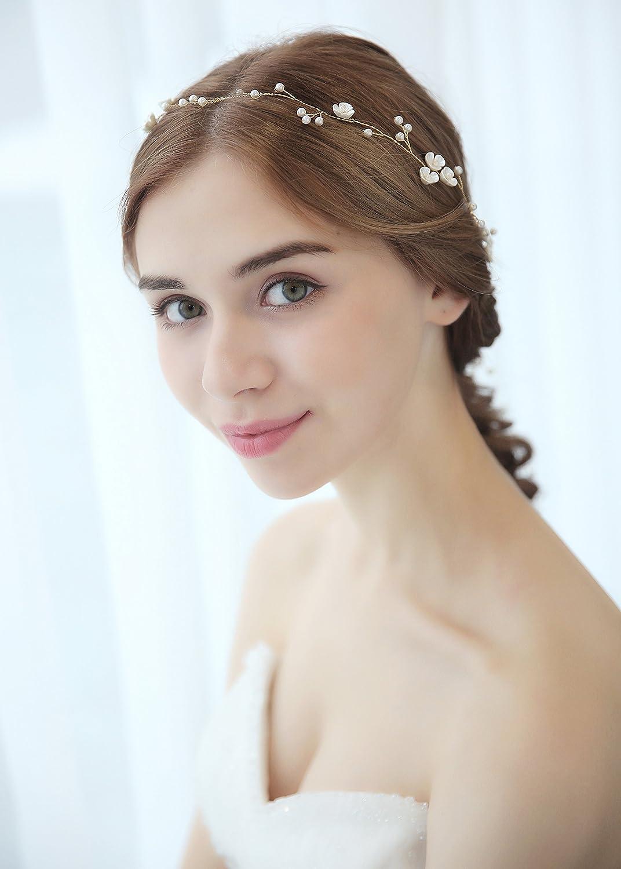 Jaetech House 1M Braut Haar Vine Haarschmuck Hochzeit Lange Perlen Blume Haarband Frauen Stirnband(MEHRWEG)