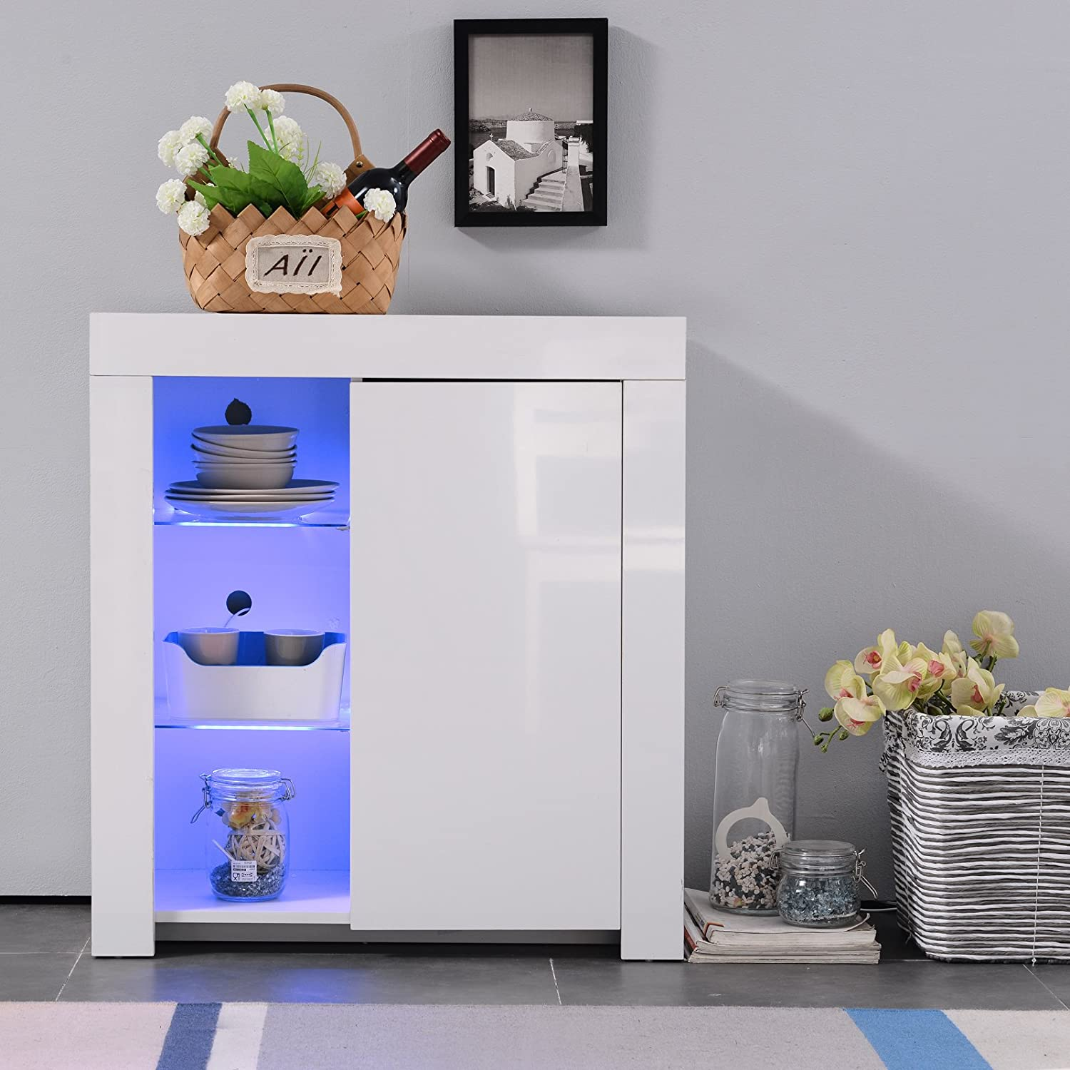 Mecor Kitchen Buffet Cabinet,High Gloss LED Sideboard,Storage Server Table with 3 Shelves White