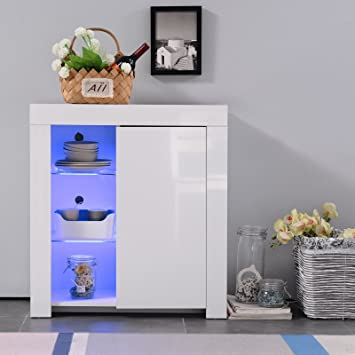 Sensational Mecor High Gloss Sideboard Storage Cabinet With Rgb Led Lighting For Living Room Dining Room Furniture Cupboard In White Matt White 1 Door Download Free Architecture Designs Griteanizatbritishbridgeorg