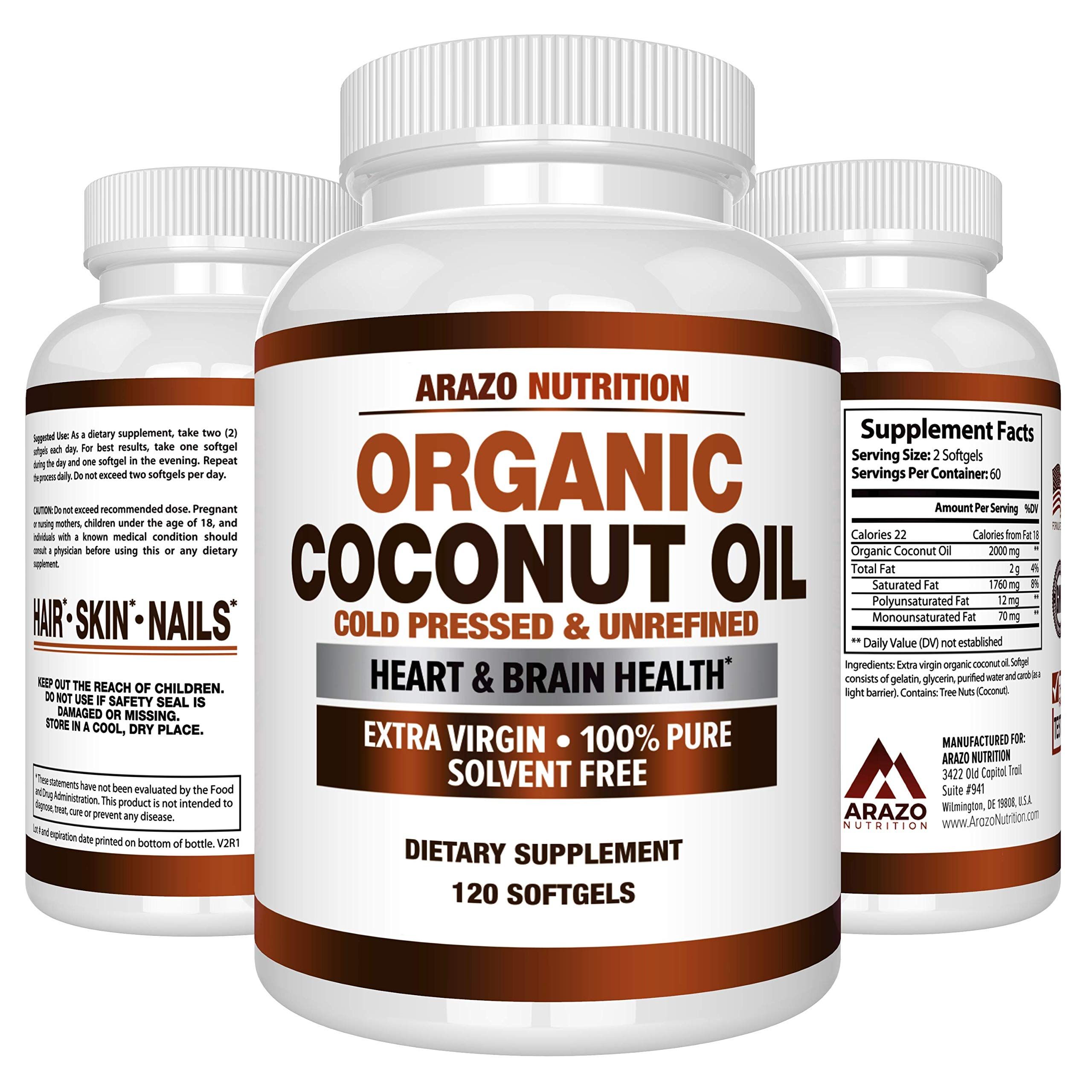 Organic Coconut Oil 2000mg - 100% Extra Virgin Cold Pressed for Weight Support, Skin
