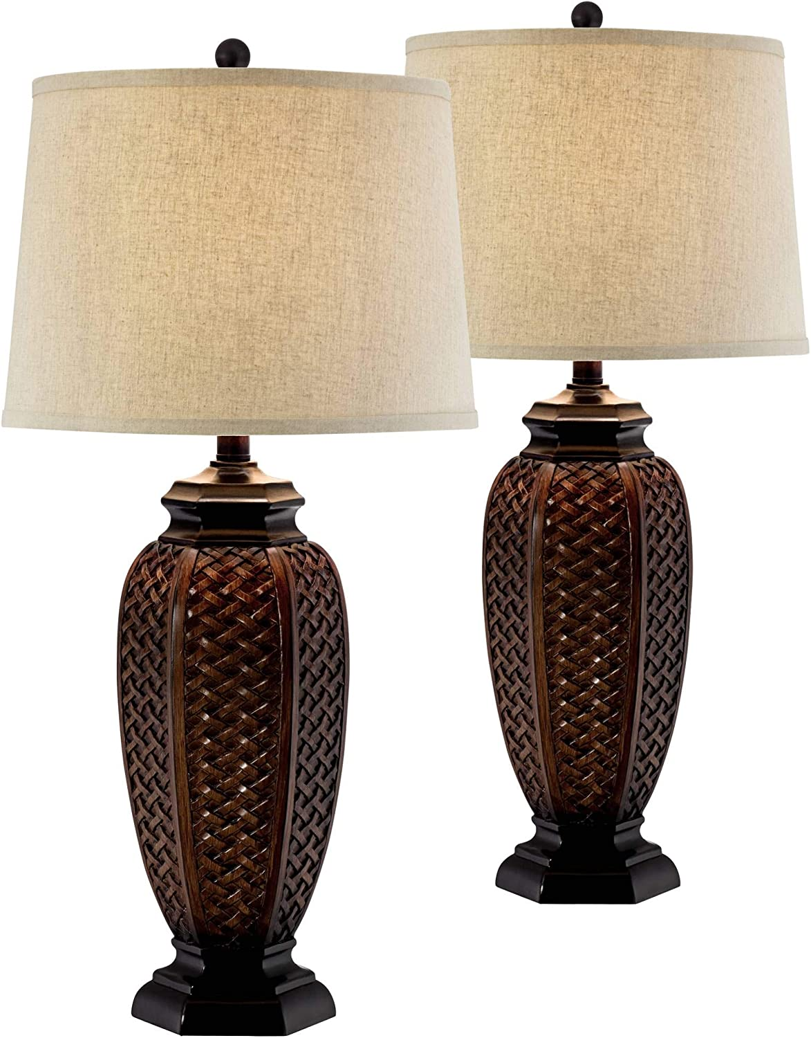 Tropical Table Lamps Set of 2 Weathered Brown Woven Wicker Jar Beige Linen Drum Shade for Living Room Family Bedroom - Regency Hill