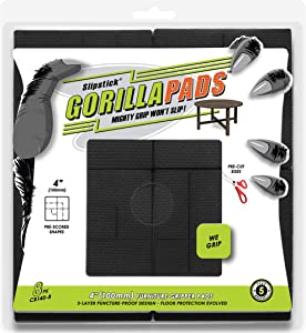 GorillaPads Non Slip Furniture Pads/Floor Grippers (Set of 8 Floor Protectors) Pre-Scored to Cut to Multiple Size, 4 Inch Square, Black, CB140-8