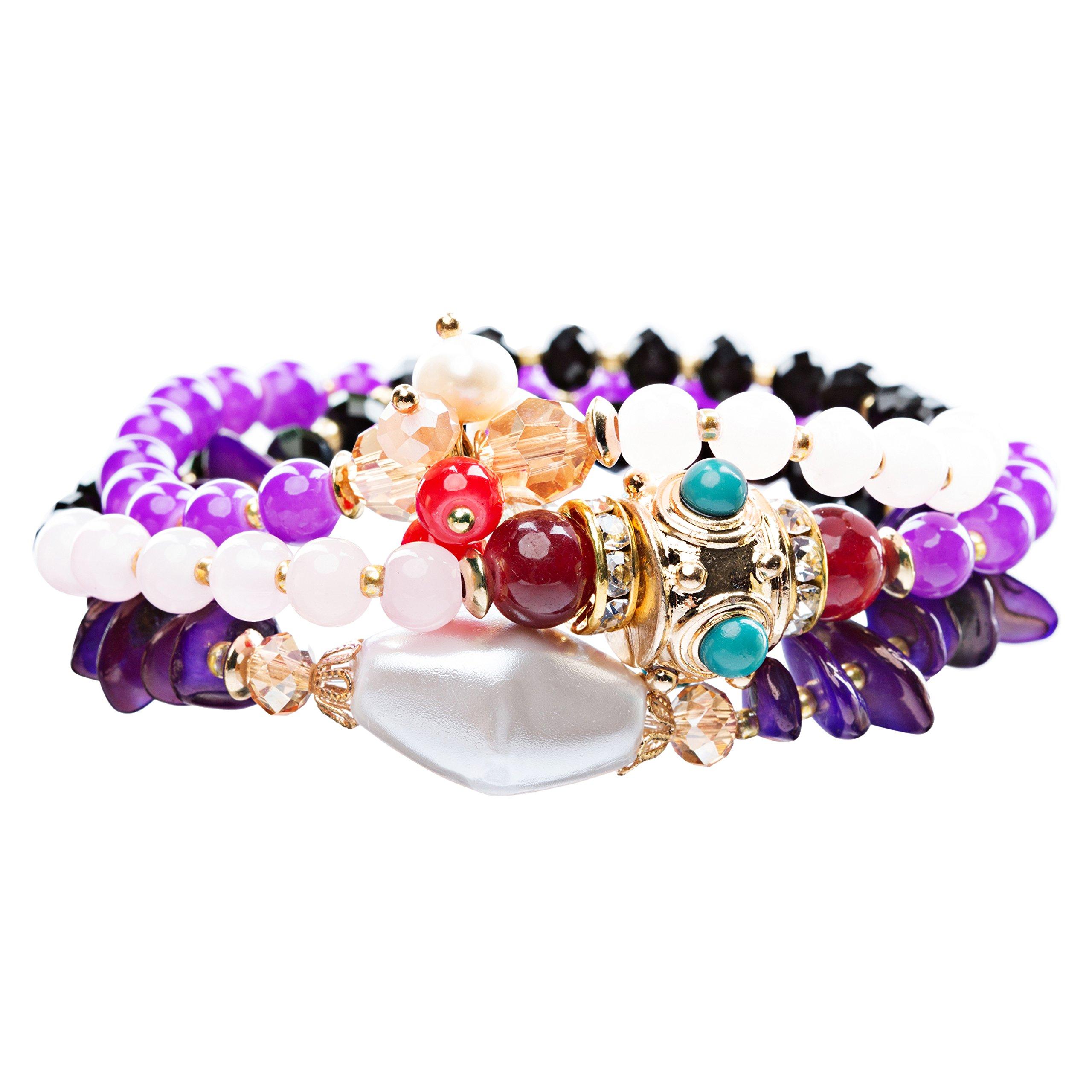 Beautiful Stone Bead Tribal Bohemian Statement Wrap Fashion Bracelet B450 Purple
