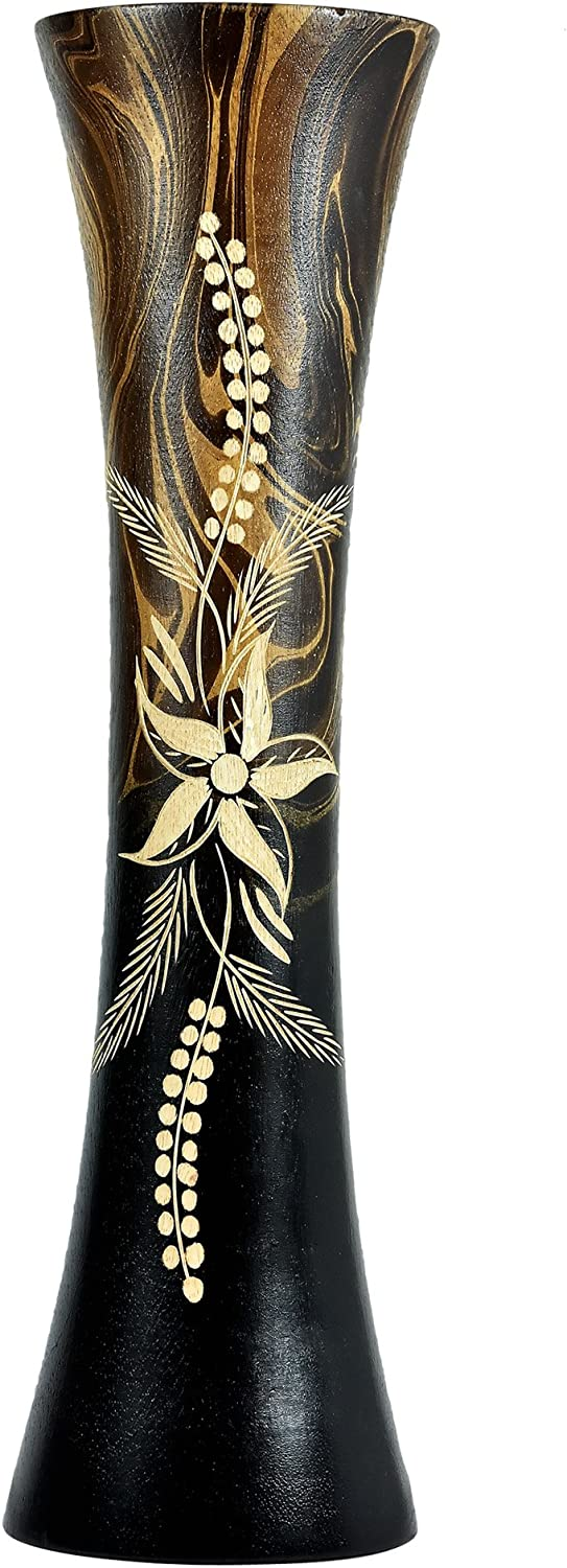 AeraVida Hand Carved Wild Flower Tall Slim Wooden Dry Vase