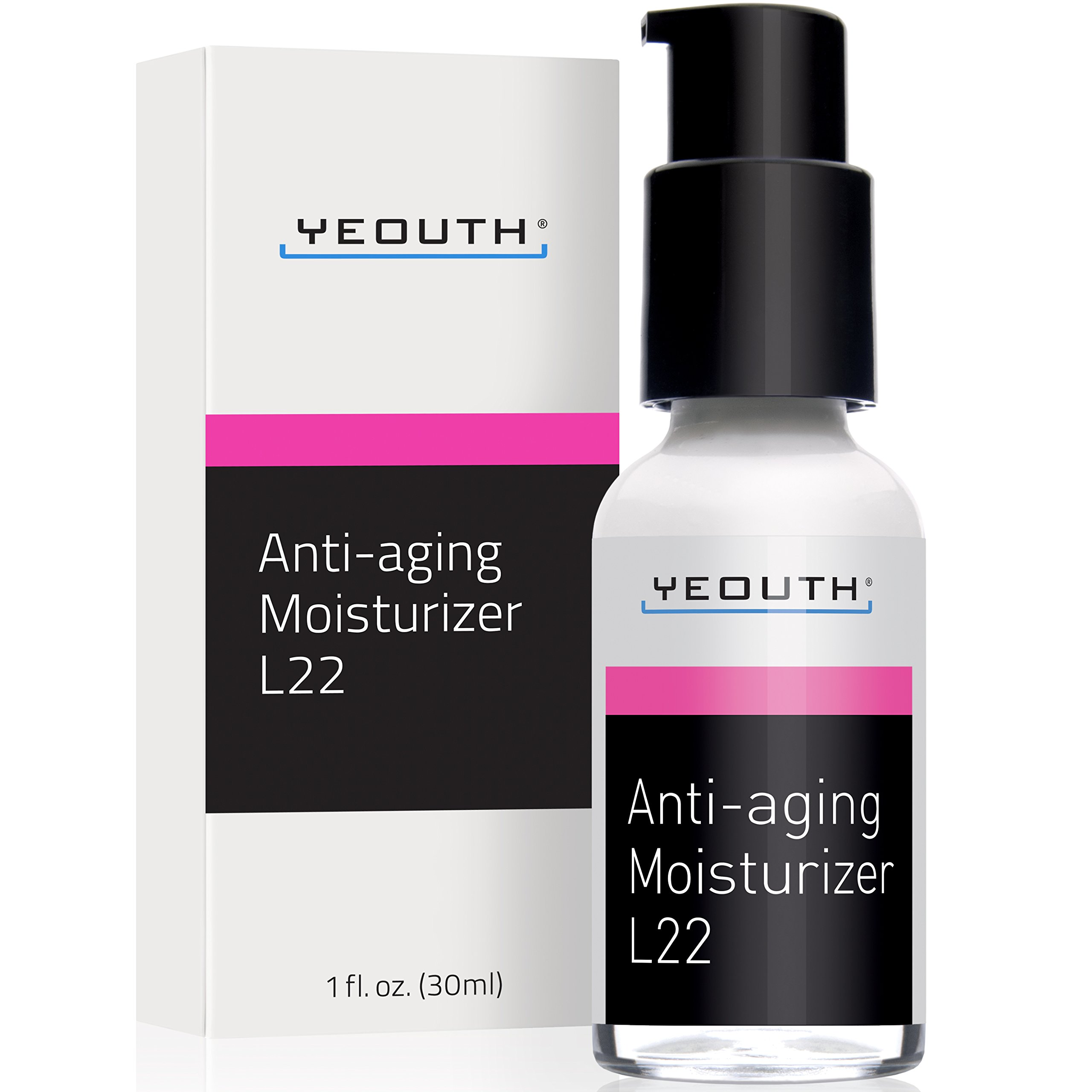 Best Anti Aging Moisturizer Face Cream, Shea Butter, Jojoba & Macadamia Seed Oil, and Patented L22 Complex From YEOUTH, Hydrates, Firms, Erases Wrinkles and Evens Skin Tone - Day and Night Cream